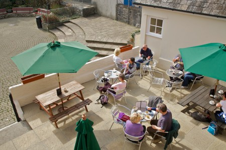 Outside courtyard seating from above in Polperro